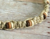 Surfer Phatty Thick Hemp Necklace With Wooden Beads