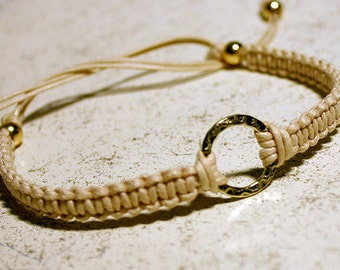 Karma Friendship Bracelet Gold Hammered Circle Ring On Natural Cotton Cord