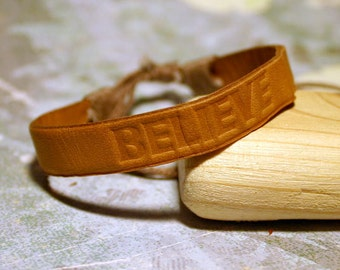 BELIEVE Mens Bracelet Surfer Leather Surf Cuff Style Adjustable