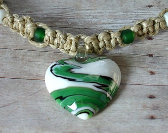 Surfer Phatty Thick Hemp Necklace With Glass Heart And Beads Choker