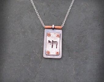 Chai Necklace, Mixed Metal Chai Pendant, Jewish Style Jewelry, Jewish Motifs, Chai Jewelry, Jewelry By Naomi Sterling Silver and Copper Chai