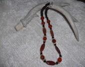 Crackle Agate, Orange Stone Necklace, Fire Agate Necklace   Beaded Necklace  Bone Necklace   Shell Necklace    Carnelian