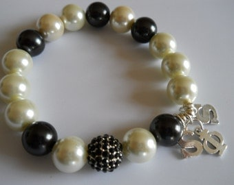 Black & White Glass Pearls with silver initial charms