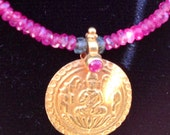 Pink Sapphire necklace with Vintage Indian18kt charm