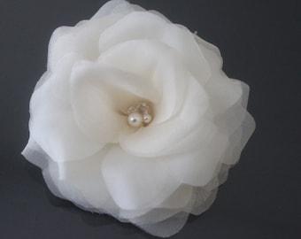 Silk Hair Flower-White, Off White, Ivory, Champagne, Blush Pink-Style No.528