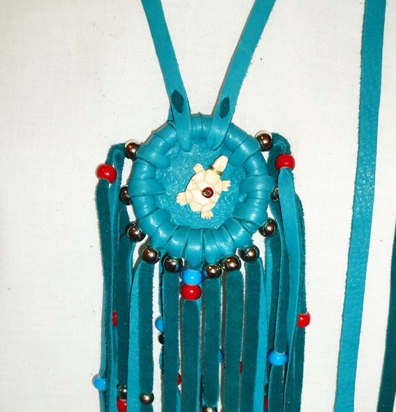Bone turtle turquoise leather necklace native american theme wall decor mountain man totem