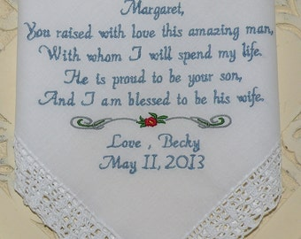 Mother of the Groom Embroidered Wedding Hankerchief Mother In-Law Handkerchief By Canyon Embroidery