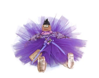 Ballerina Doll, Ballerina, Primitive, Primitive Doll, Primitive Ballerina Doll, Purple, Purple Satin, Roses, Pointe Shoes