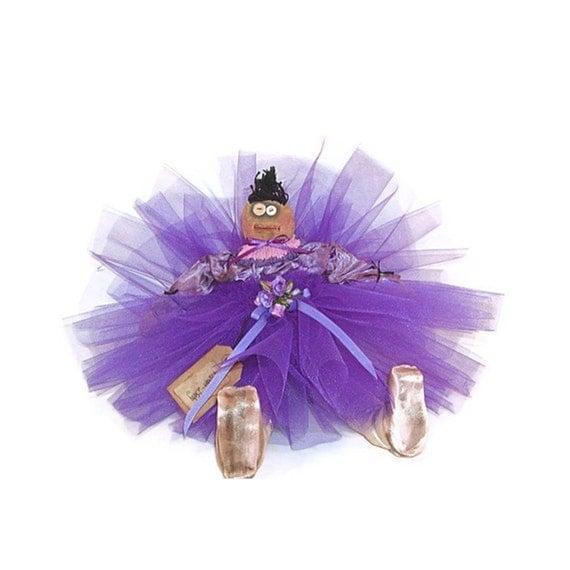 Ballerina Doll, Ballerina, Primitive, Primitive Doll, Primitive Ballerina Doll, Purple, Purple Satin, Roses, Pointe Shoes