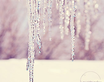 melting icicles-winter photography-winter-melting ice-dripping-winter- (5 x 7 Original fine art photography prints) FREE Shipping)