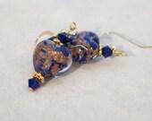 Venetian Glass Blue Heart Aventurine Earrings