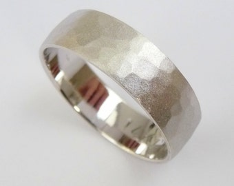 Wedding Band White gold mens Wedding ring hammered sandblast finished ring 6mm wide