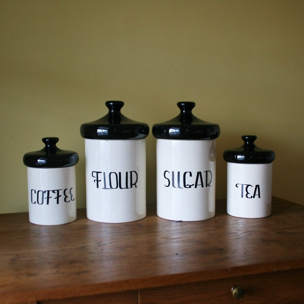 vintage black and white ceramic canister set holiday by