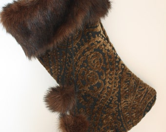 Black and Chocolate Brown Chenille Christmas Stocking with Faux Fur Cuff - lined
