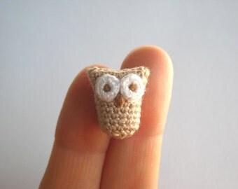 Crochet Owl Brooch - Tiny Owl Pin - Animal Brooch - Mothers Day Gift - Crochet Brooch - Tan, Brown and White Amigurumi Pin