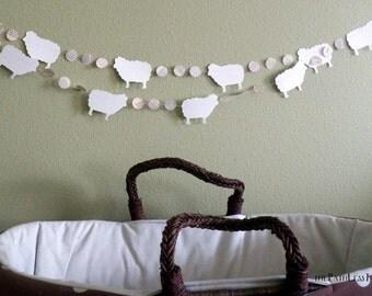 10 foot long Sheep and Vintage Book Circles Banner - Custom colors available