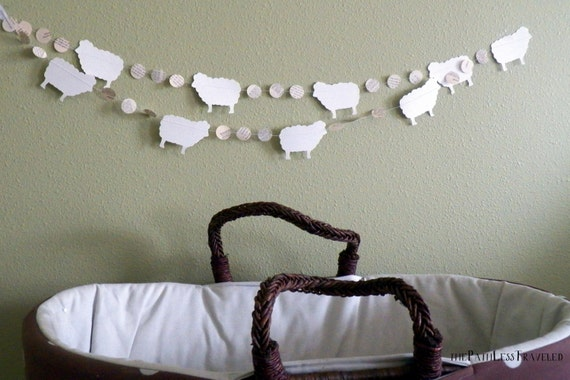 10' Sheep and Vintage Book Circles Banner -Custom colors available