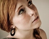 Tribal Style, Post Earrings, Handmade, Horn Earrings, Cheaters, Organic, Plugs, Split, Stick Earring - Flower Hoops Horn 2