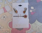 Vintage Enamel Daisy Earrings and Matching Hair Pin - ONS