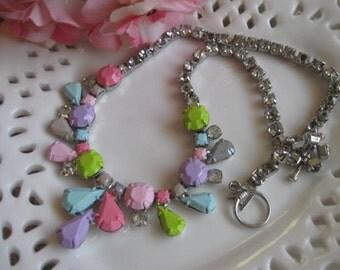 Hard Candy Pastels.vintage 195Os rhinestone upcycled necklace