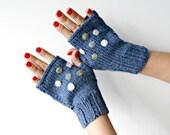 Navy Polka Dot Gloves