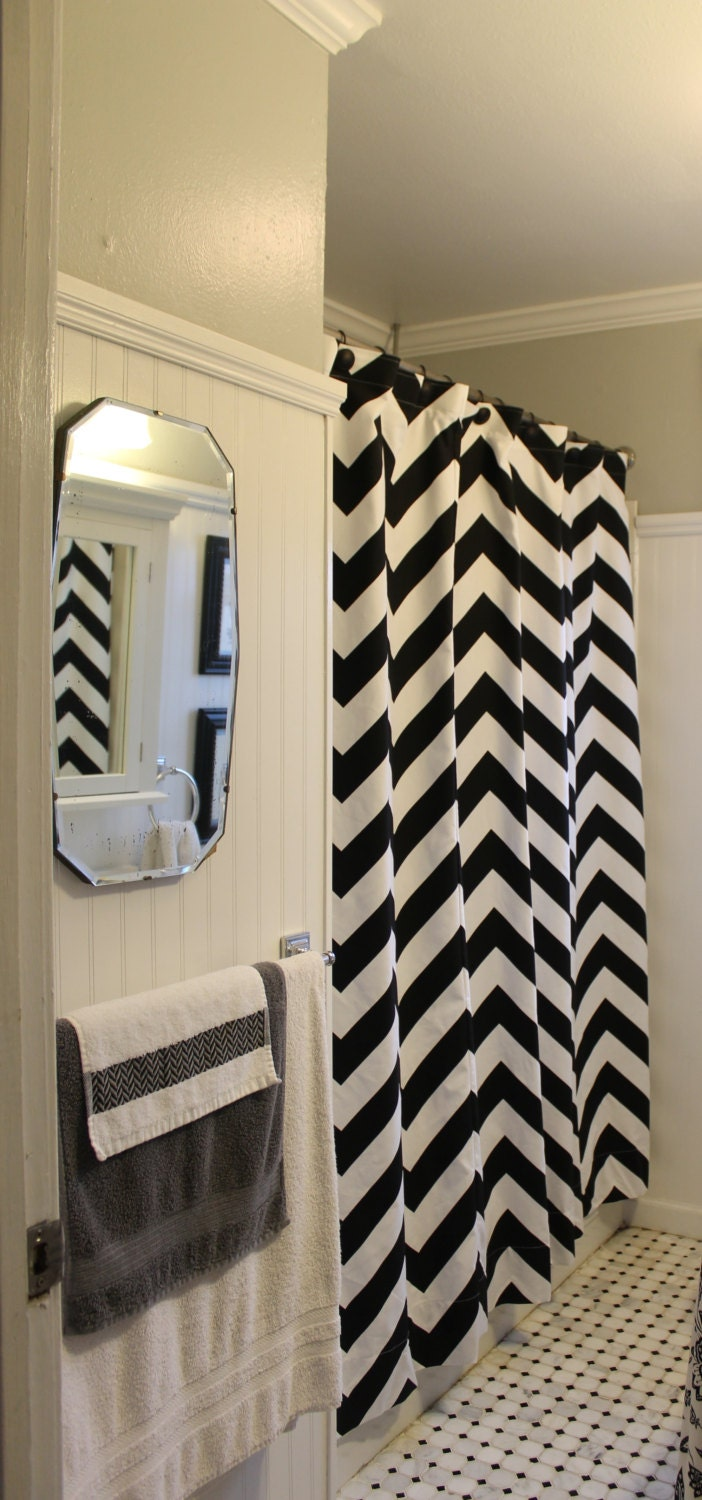 zippy large chevron zigzag shower curtain in several colors