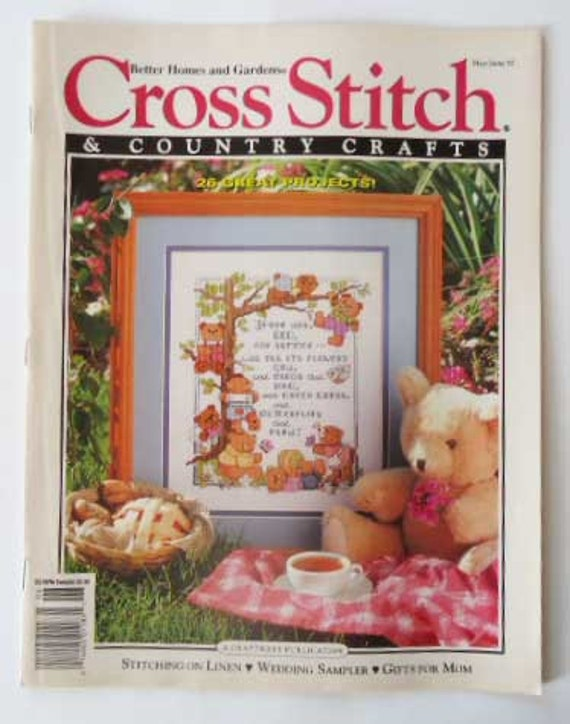 Items similar to cross stitch and country crafts magazine for Country living magazine cross stitch