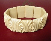 CARVED BONE BRACELET,  Beautiful Deeply Carved Tiles, Vintage Costume, Fashion Jewelry