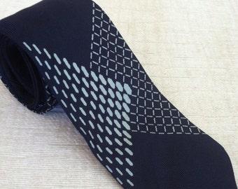 Baby Blue Grid on Navy Vintage LANVIN Silk Necktie