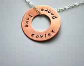 Hand stamped peace love cavies necklace copper washer sterling silver chain