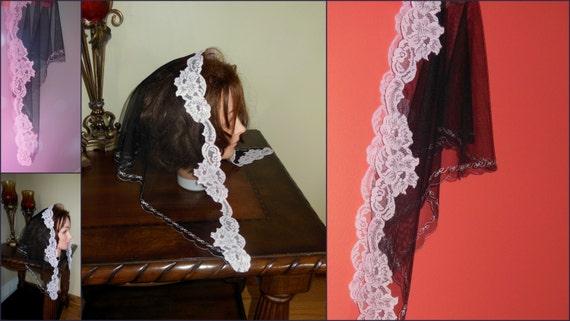 SALE Black Light Pink sheer mesh lase mantilla scarf triangle D shape veil - scalloped edge -  very unique - net