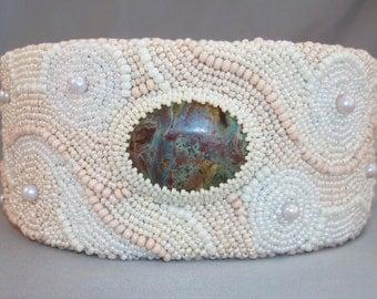 Ivory and Cream Cuff Bracelet Bead Embroidery Jasper Stone Zen Garden