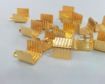 10 Pcs Gold Plated Brass Cord Ends, Findings G602