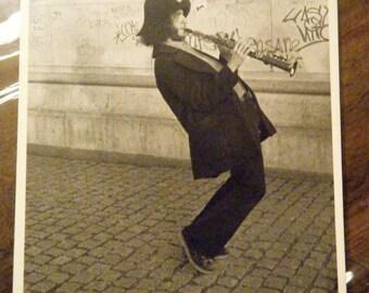 Vintage 1980's, Black and White Postcard, Saxophone Player in Washington Park, New York City