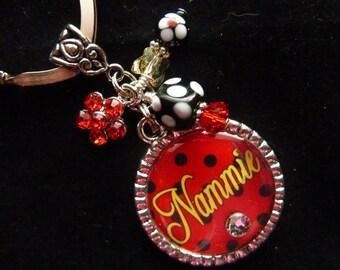 PERSONALIZED Polka Dot Keychain, Zipper Pull,  Pendant Necklace w/Charm