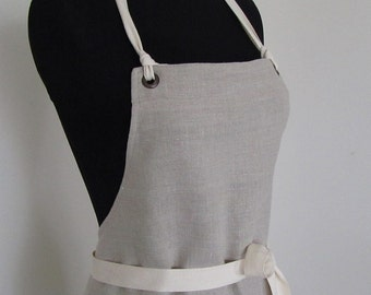 Full Apron Woman European Linen  Natural Color Rustic linen apron Cook Custom Apron