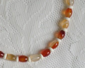Red Agate and Bone Necklace
