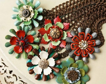 Choose Your Flower Necklace, Anthropologie Style, Reds and Greens Handpainted, Enamel Vintage Flowers, One of a Kind Assemblage