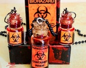 Wastelander's Special - Apocalypse in Jar Biohazard Necklace and Earrings Combo