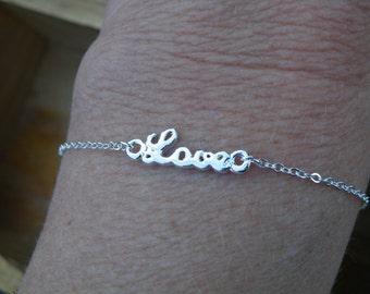 50% off this item, enter LOVE99 at checkout, L O V E  Charm Bracelet, Word Bracelet, Love, Christmas Gift, Friendship Bracelet, Dainty