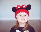 Crochet PATTERN - Minnie Mouse Inspired Hat - Instant Download