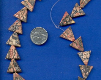 Strand of 16mm Triangle Beads: Leopardskin Jasper