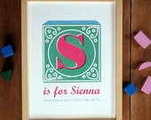 Personalised Vintage Alphabet Block Letter Name Print - Green