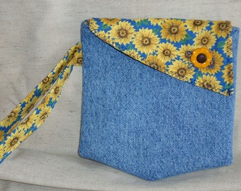 Handmade Recycled Denim Wristlet Pocket Purse Sunflower