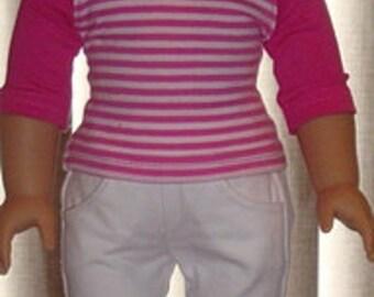 Pink Baseball Style T-Shirt And White Denim Capris For American Girl Or Similar 18-Inch Dolls