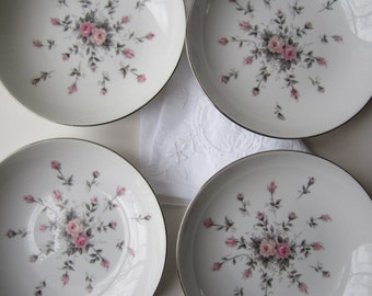 Vintage Harmony House Rosebud Pink and Gray Floral Berry Bowls Set of Four - Mid Century