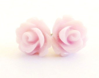 Pink Lavender Rose Earrings- Surgical Steel- 10mmBlack Friday Sale 20% Off