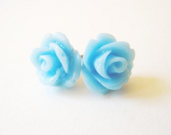 Light Blue Rose Stud Earrings- Surgical Steel or Titanium Post Earrings- 10mmBlack Friday Sale 20% Off