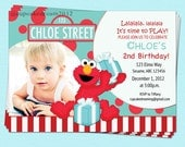 Elmo Birthday Invitations Sesame Street Inspired Red Turquoise Photo Printable Party