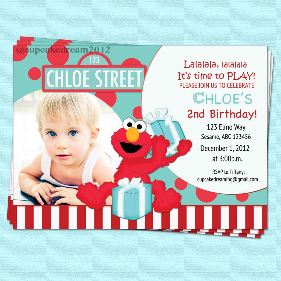 Elmo Birthday Invitations Sesame Street Inspired by CupcakeDream